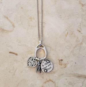 James Avery charm holder on chain with 3 charms